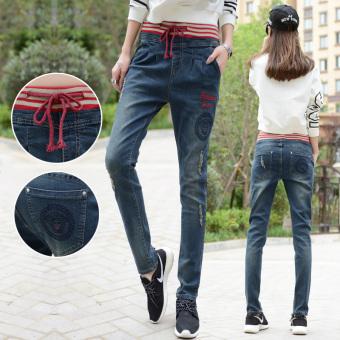 Harga Saya Gelap liar konvensional siswa perempuan celana jeans celana harem (Gambar warna) Pelacakan