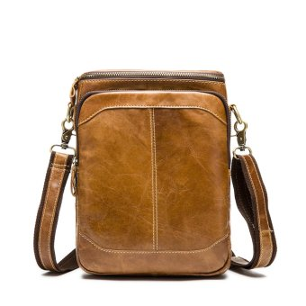 Genuine Leather Men Messenger Crossbody Shoulder Bag Small Travel Handbag Brown - intl