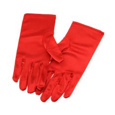 Girls Satin Full-fingered Formal Princess Dress Wedding Party Gloves for Flower Girl Red - intl