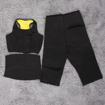 harga GOOD 3Pcs Hot Shaper Slimming Fitness Sportswear WaistBelt Pants Vest Set black and yellow M - intl Lazada.co.id