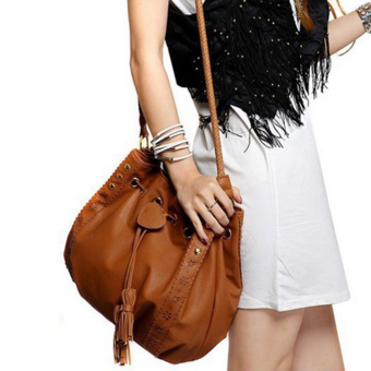 GOOD Lady Soft Beautiful Drawstring Shoulder Bag Handbag Cross Body Bags Brown