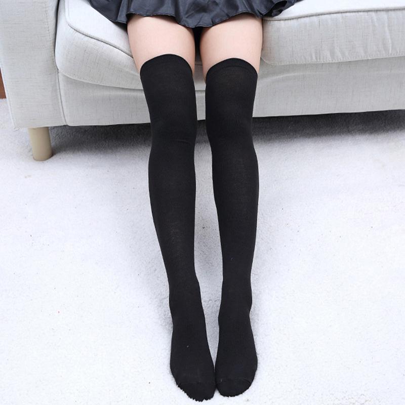 Gracefulvara Fashion wanita gadis di atas lutut kaus kaki katun setinggi paha stoking Legging hitam