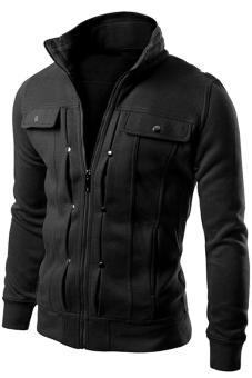 Gracefulvara Stylish Men's Stand Collar Jacket Coat Slim Fit Tops (Black)