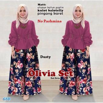 GSD-Baju Setelan Muslim Wanita/Celana Kulot/Set Livia