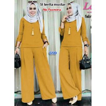 GSD- Fashion Baju Muslim Wanita- Set Levi Mustar