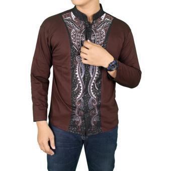 Gudang Fashion - Baju Koko Pria Modern Lengan Panjang - Coklat Tua