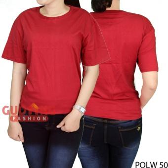 Gudang Fashion - Kaos Polos Wanita Simple Lengan Pendek - Maroon