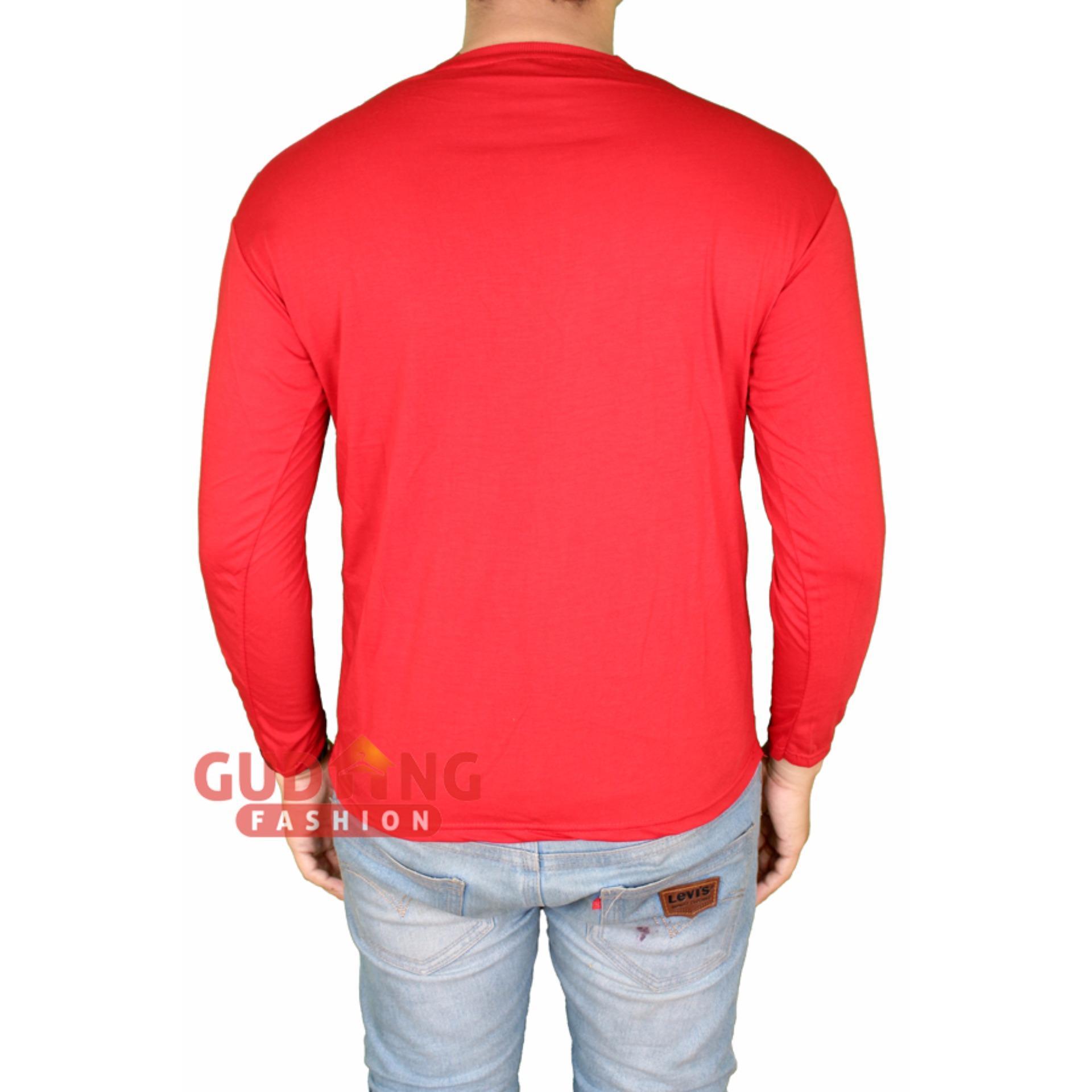 Gudang Fashion - Kaos Pria Panjang Polos - Merah Cabe .