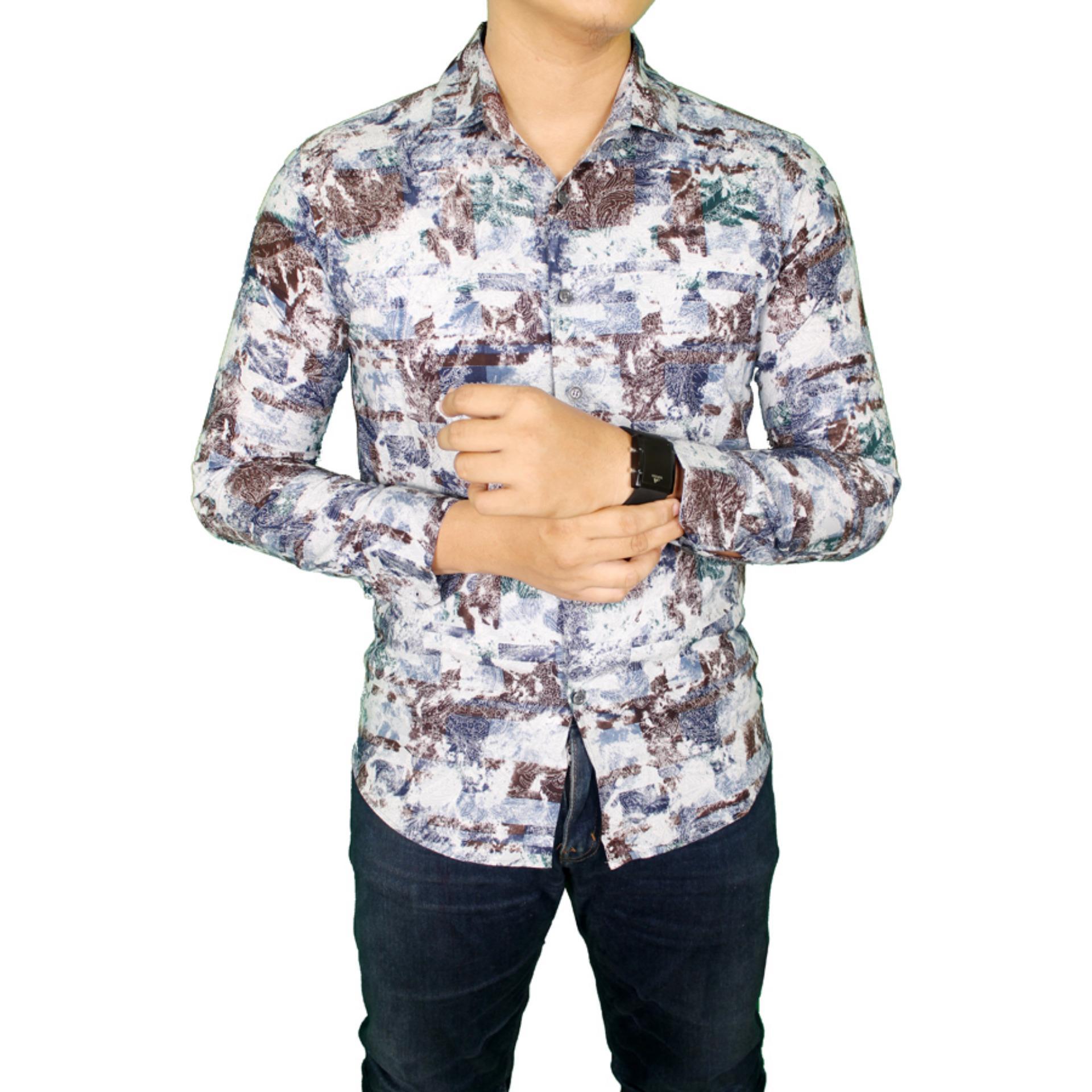 Gudang Fashion - Kemeja Batik Formal Pria - Putih - Biru .