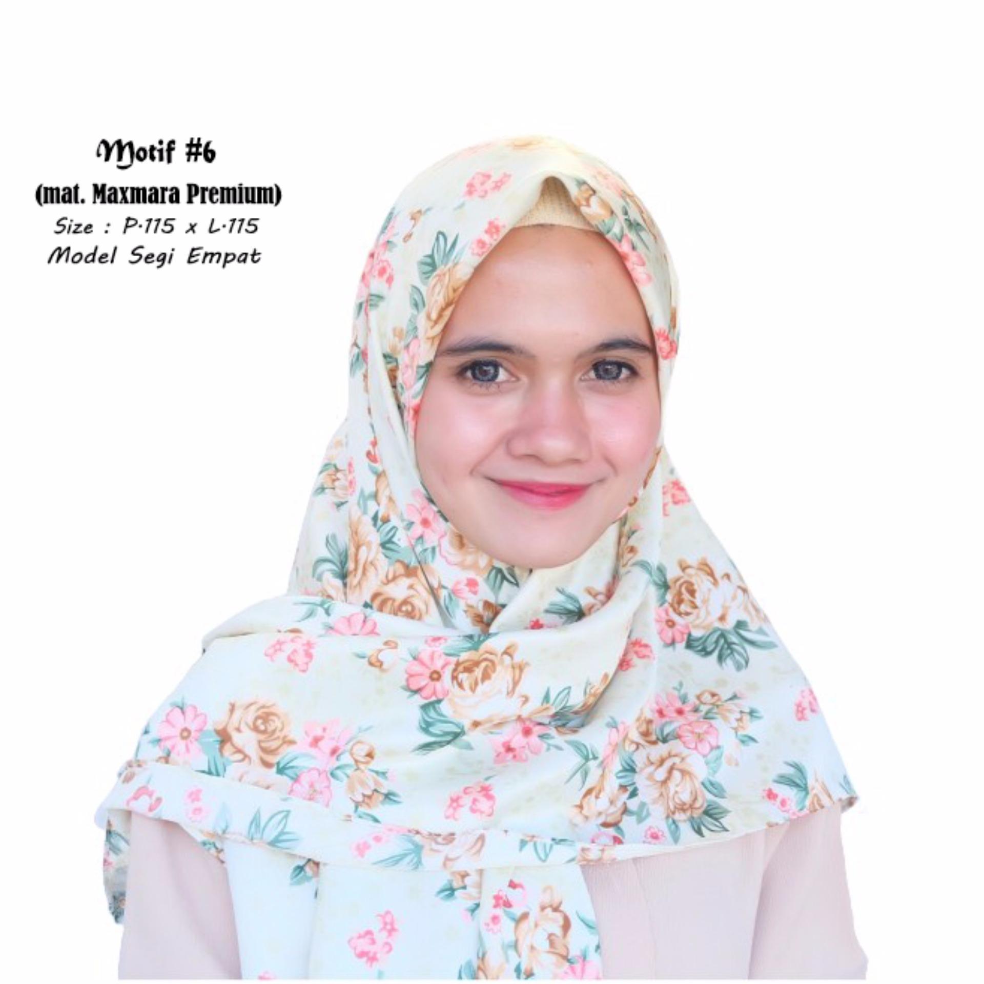 ... GudangGrosir Jilbab Premium Kerudung Segi Empat Motif #6 Hijab Model Floral Printing Bahan Maxmara Warna ...