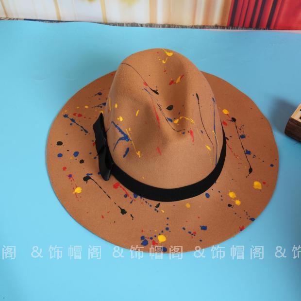 Harajuku Korea Fashion Style warna angin yang dilukis dengan tangan topi  (Unta) 0df87fab27