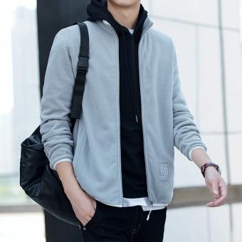 Harajuku Korea laki-laki siswa Musim Semi dan Gugur Slim cardigan sweater ( JK1863 abu