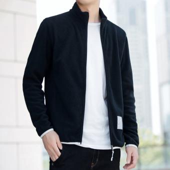 Harajuku Korea laki-laki siswa Musim Semi dan Gugur Slim cardigan sweater (JK1863 hitam