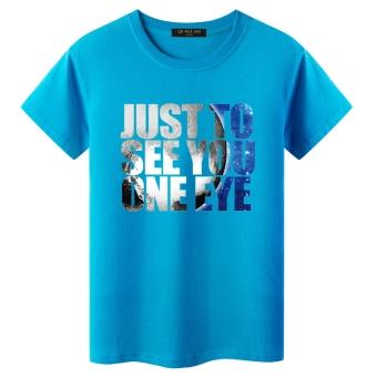Gambar Harajuku lengan pendek laki laki angin musim panas t shirt (Biru seeyou) (