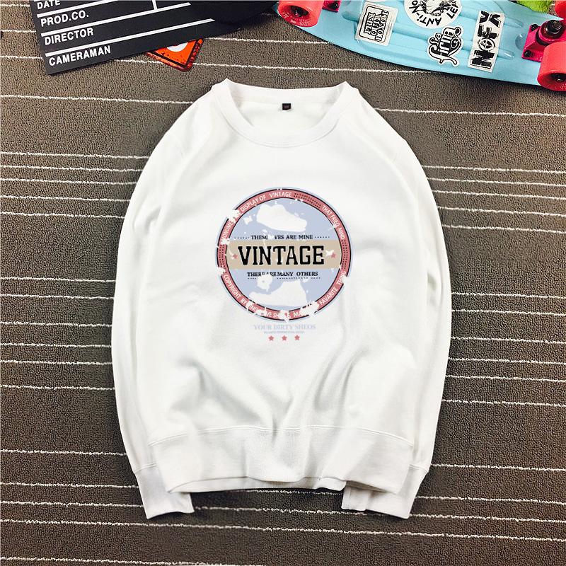 Harajuku versi Korea dari leher bulat pria lindung nilai lengan panjang kemeja sweater (Vint leher