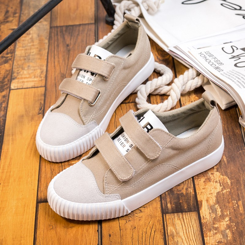 Flash Sale Harajuku wild magic stickers white shoes New style canvas shoes (Khaki)