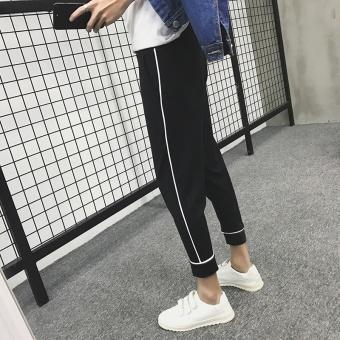 Haren Celana Santai Pria Garis-garis Semua-Cocok Celana Korea Kaki Tide Celana Tipis