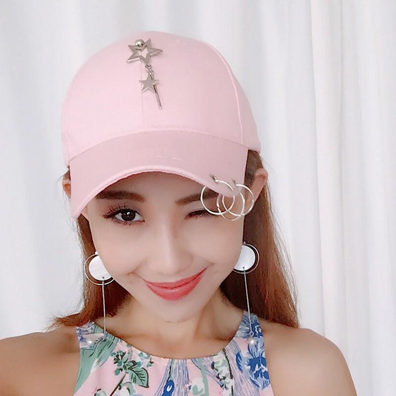 Flash Sale Hari kepribadian pasang patch yang laki-laki ms. topi Korea  Fashion Style bisbol topi (Lima menunjuk bintang menggantung batang besi  merah muda) d164cf32d5
