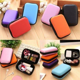 Headset Melindungi Carry Hard Case Bag Storage Box Headphone Earphone Hitam 12*8*4