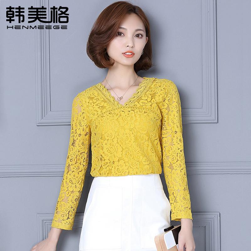 Flash Sale Henmeege Korea Fashion Style perempuan lengan panjang v-neck renda blus kemeja kecil