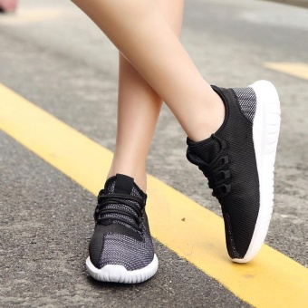 High quality fashion fly weave breathable Women sports shoesrunning shoes casual sneakers(black) - intl - 2