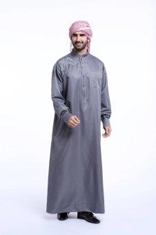 High Quality One-Piece Muslim Men Jubahs-Grey - intl - 3