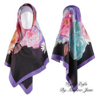 Hijab Dafa Pashmina Bunga Hijab Satin Segi Empat Jilbab Motif BungaKombinasi Bahan Satin Motif Flower 2