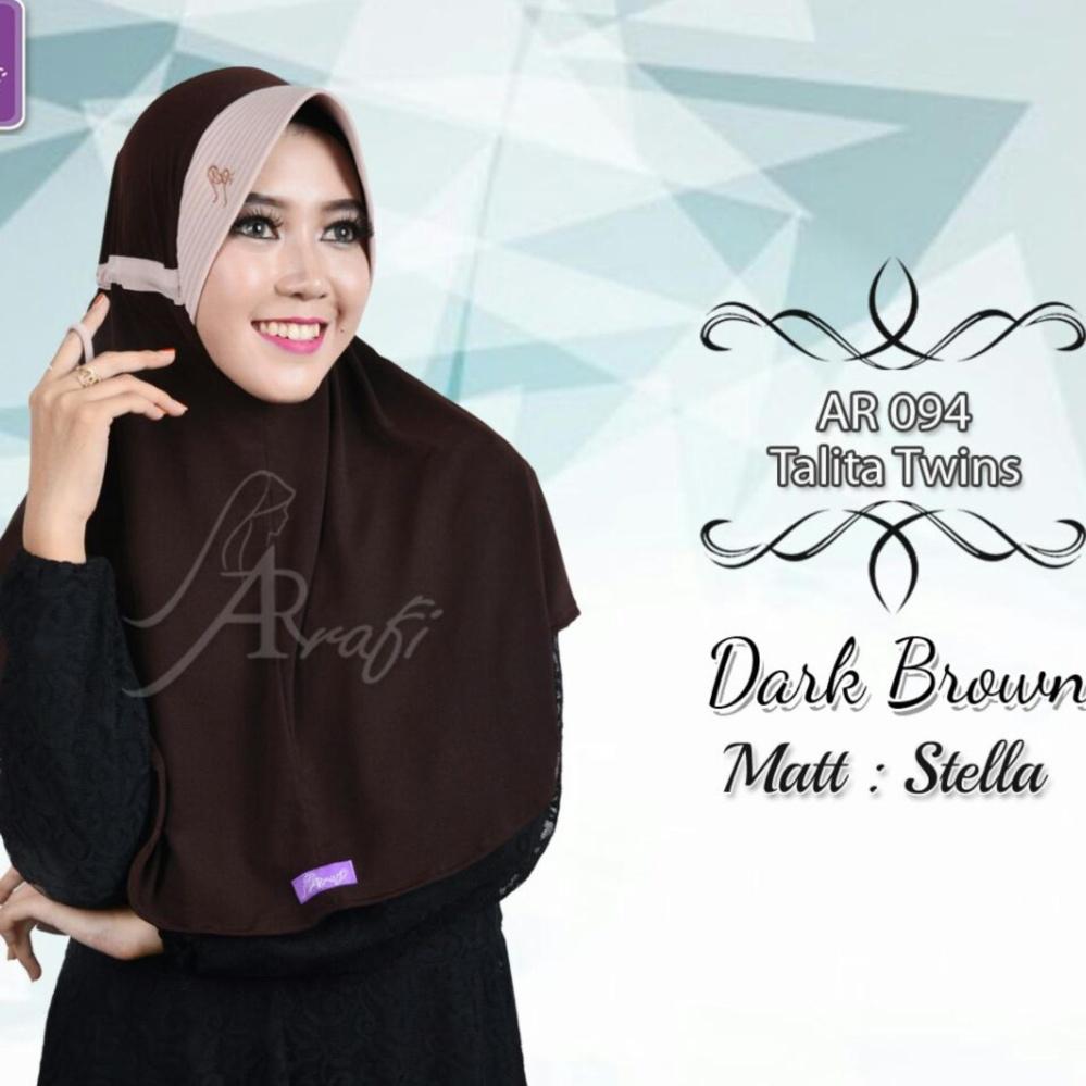 Belanja Terbaik Hijab Instan Arrafi Talita Twin Warna Dark Brown Najwa Jilbab Kaos Katun Tc Premium Biru Ar94std Kerudung Bergo Khimar
