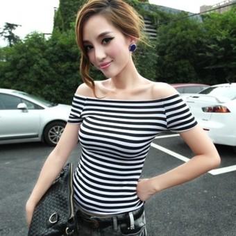 Hitam Dan Putih Wanita Kerah Strapless Kemeja Bergaris Lengan Pendek T-shirt (Hitam dan