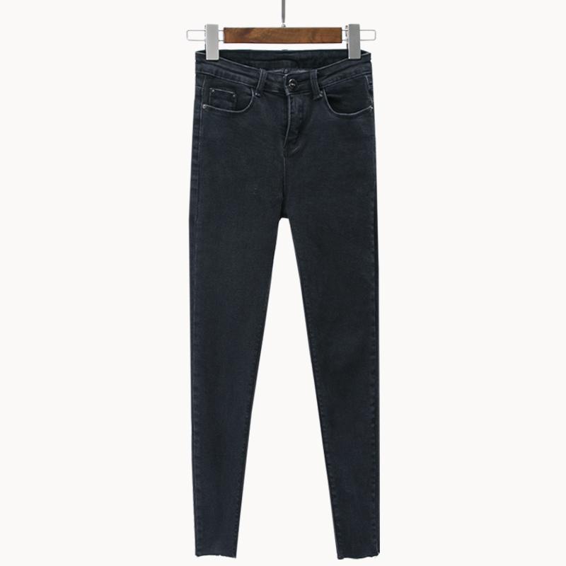 Hitam perempuan musim panas adalah stoking tipis celana pinggang tinggi celana jeans (Hitam)