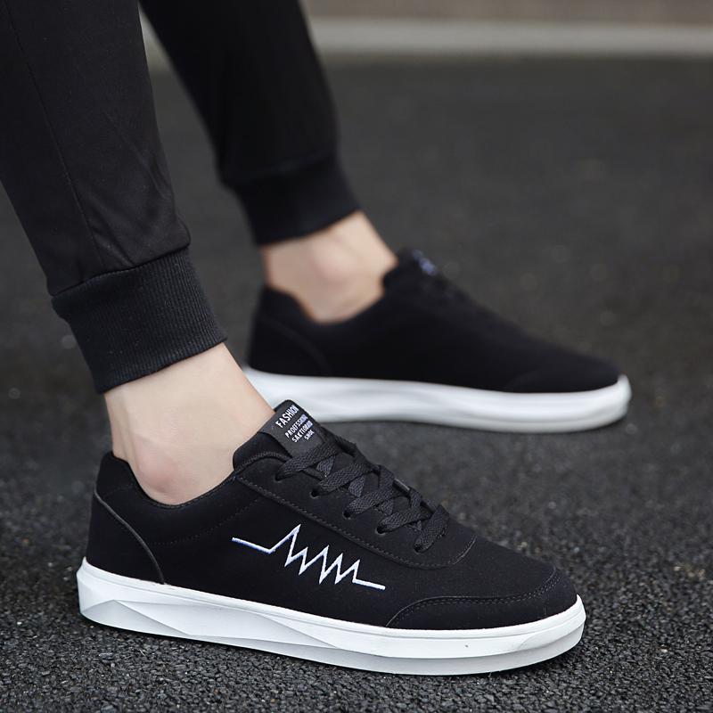 Flash Sale Hitam siswa remaja pasang sepatu pria sepatu (Hitam dan putih) 7b3fef6352