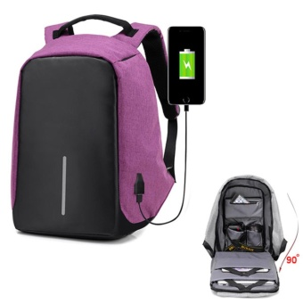 HOLA 15.6Inch Outdoor Travel Canvas Anti-theft Unisex Women Backpacks Rucksack Laptop Bag with USB Charging Port(Purple) - intl