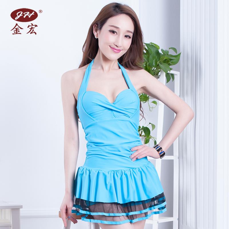 Hong Jin Perempuan Gaya Rok Siam Petinju Berenang Baju Renang Baju Renang (5640 danau biru