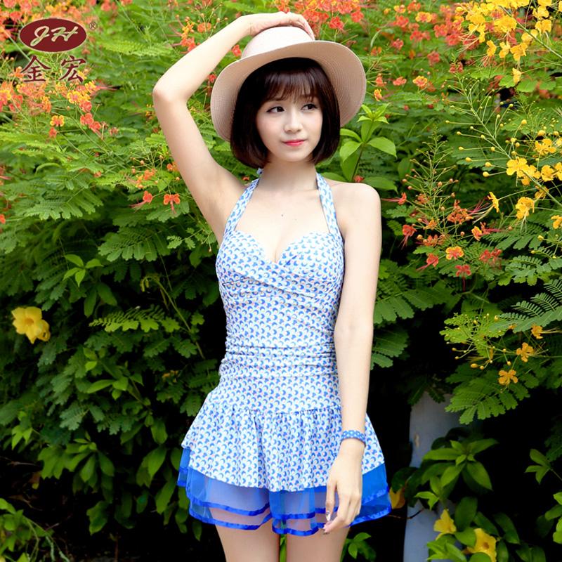 Cheap online Hong Jin Perempuan Gaya Rok Siam Petinju Berenang Baju Renang Baju Renang (5640 titik biru) (5640 titik biru)