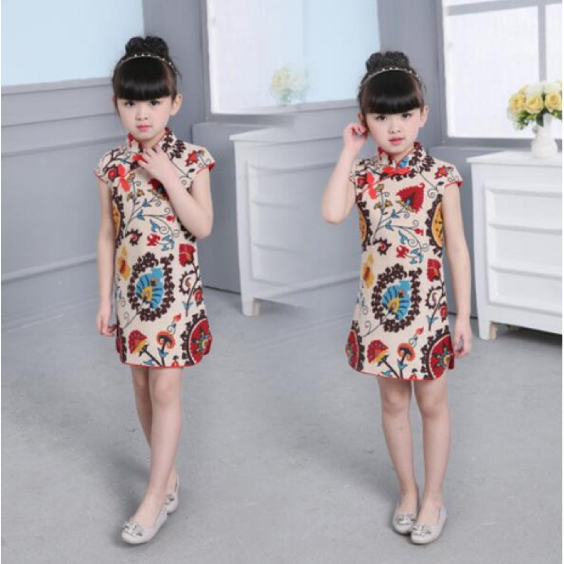 Cheap online Hot Baby Kids Little Girl Cotton Dress Trendy Qipao Short SleeveChinese Style Cheongsam Clothes Tang Suit Baby Princess Dresses For2-8T - intl