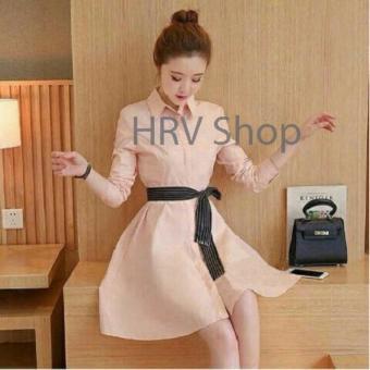 HRV Shop Dress Wanita Viana - Peach / Dress T-shirt Wanita / Gaun Kaos