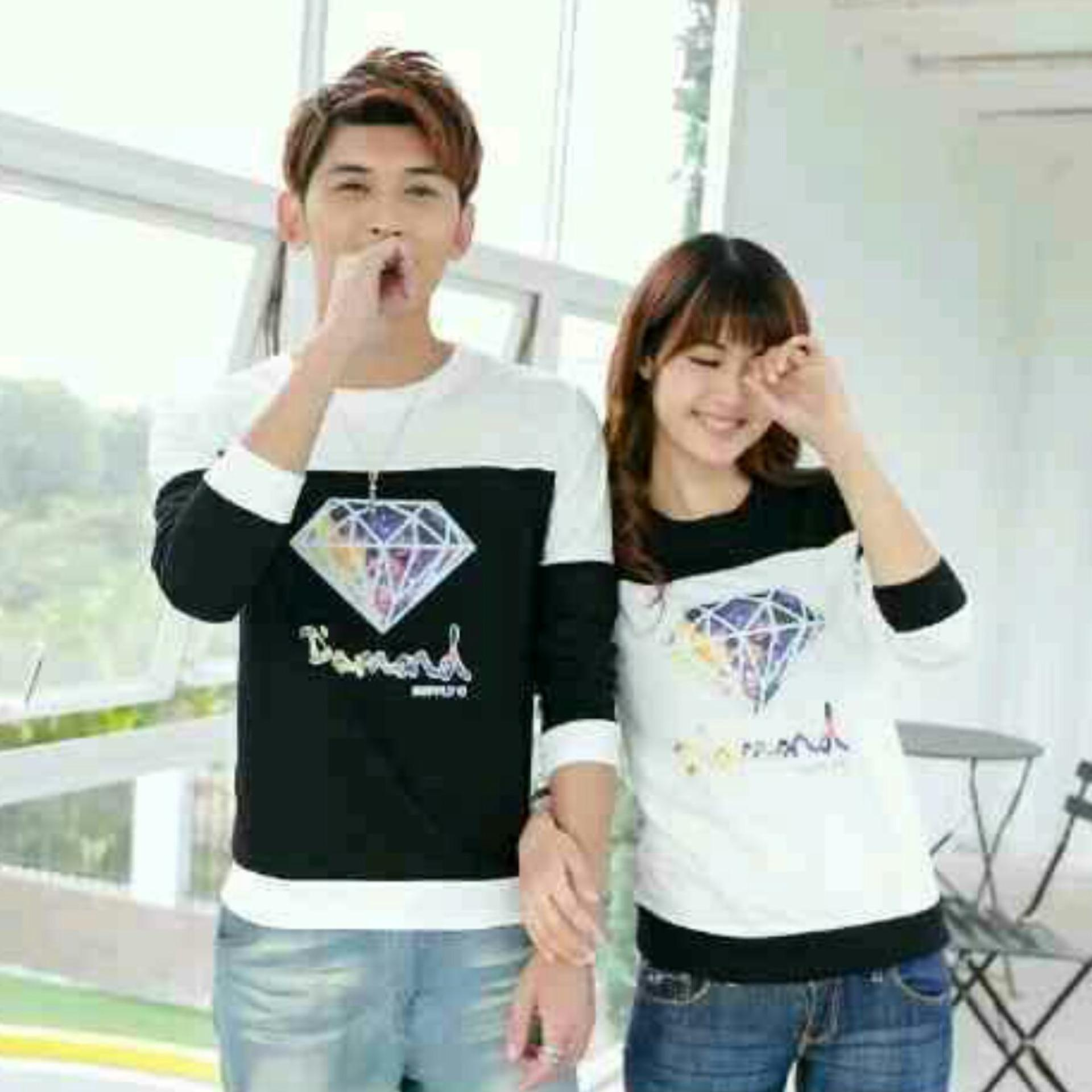 H~Shico Sweater Couple DIAMON ( Hitam Putih )