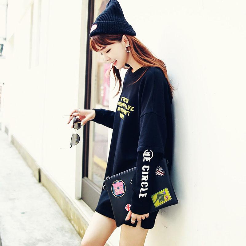 Flash Sale HSTYLE or6685 Korea Fashion Style huruf baru adalah gaun style tipis (Hitam)