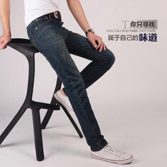 Pencarian Termurah IFASHION Korea Fashion Style pria Slim pemuda lurus celana jeans celana jeans (Nostalgia warna) Anggaran Terbaik