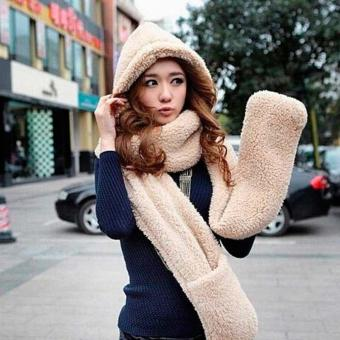 Harga Women's Winter Fleece Scarf Set 3 In 1 Scarf Hat And Gloves Set - Intl