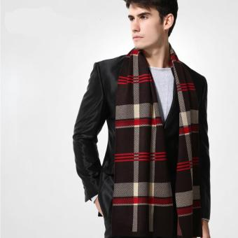 Harga New Design Brand Scarf Men's Warm De Luxe Scarves Fashion Scarf Plaid Wool Scarf Men ( Coffee ) - intl
