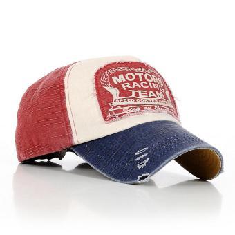ELENXS Unisex Vintage Retro Di Luar Ruangan Surat Fashion Topi Golf Topi Baseball Kapas Disesuaikan Biru