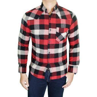 Gudang Fashion Kemeja Pria Flanel Panjang Merah