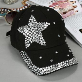 Harga Children Cap Popular Star Shaped Rhinestone Baseball Cap (Black)