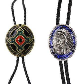 Harga MagiDeal 2 Pieces Indian Chief of A Tribe Totem Western Cowboy Rodeo Bolo Tie Bola - intl