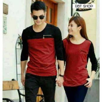 Harga couple store cs - kaos pasangan zipper maroon