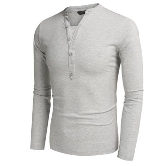 Cyber COOFANDY Men Fashion Casual V Neck Long Sleeve Solid Slim Fit Henley Shirts T Shirt