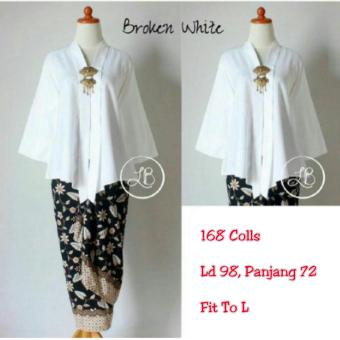 168 Collection Atasan Blouse Moniq Abaya Dan Rok Lilit Batik-Putih Gading