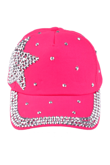 Harga Toprank Baseball Cap Rhinestone Star Shaped Boy Girls Snapback Hat Children Cap ( Pink )