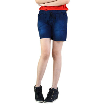 Harga Dline jeans Hot Pants Wanita Polos Denim - Dark Blue